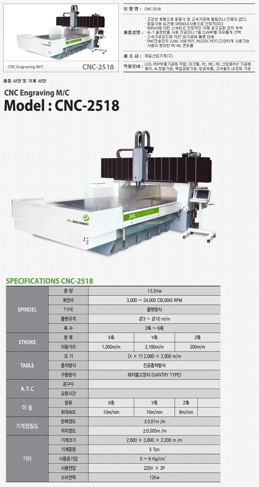 제일산업기계(주) CNC Engraving M/C CNC-2518