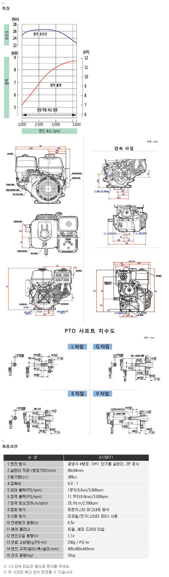 전일기계공업(주) 엔진 GX390T1