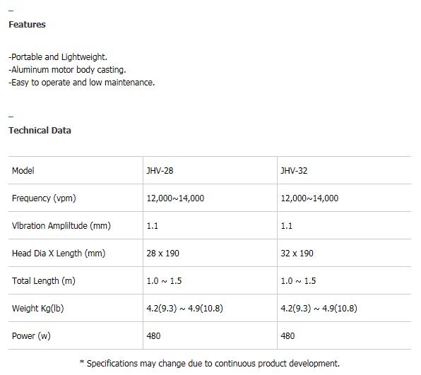 JEONIL MACHINERY Handy vibrator JHV Series