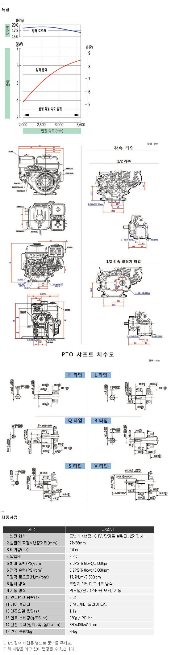 전일기계공업(주) 엔진 GX270T