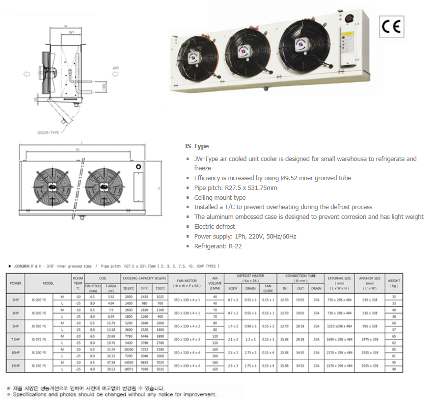 JOONGWONS Unit Cooler Evaporator JS-Type