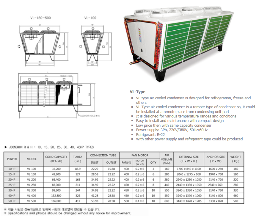 JOONGWONS Air Conditioning Units VL-Type