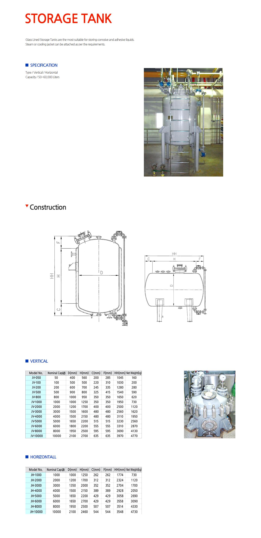 JUNGHYUN PLANT Storage Tank JV/JH-Series