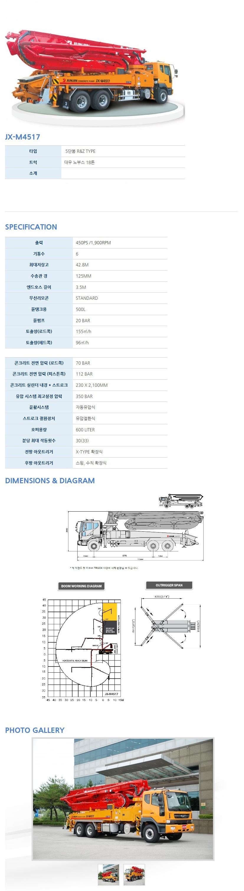 전진중공업 콘크리트 펌프카 JX-M4517