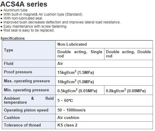 KCCPR Small Cylinder (Aluminum/Air Cushion) ACS4 Series