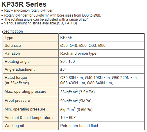 KCCPR Rotary Cylinder KP35R Series