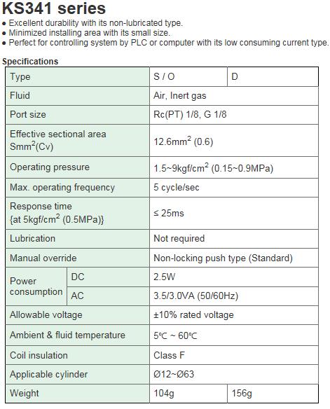 KCCPR Air Solenoid Valve (3Port Pilot/Non-lubricated) KS341 Series