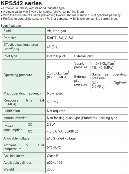 KCCPR Air(Vacuum) Solenoid Valve (3Port Pilot/Universal) KPS542 Series