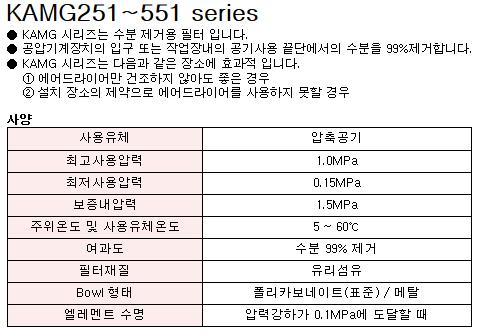 케이시시정공(주) 드레인 세퍼레이터 KAMG251~551 Series