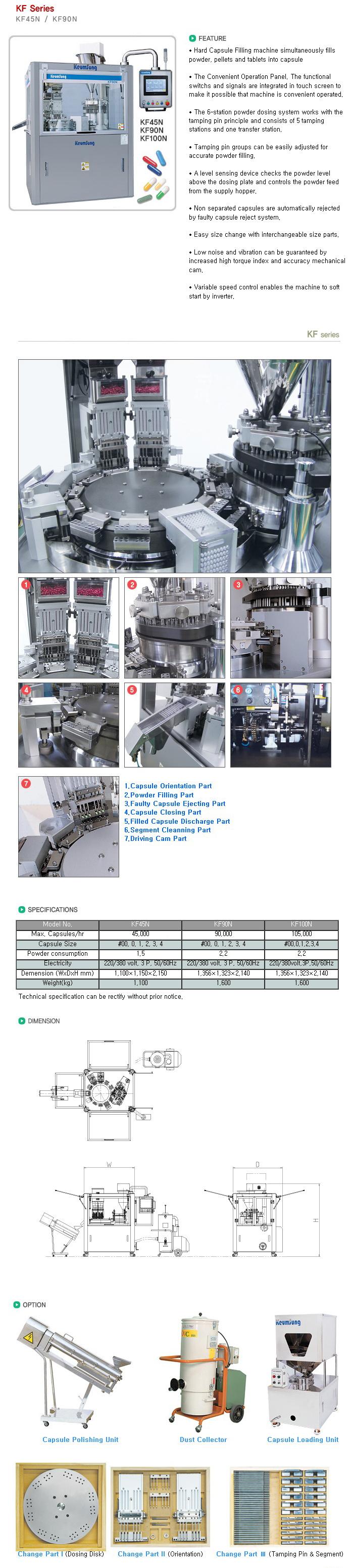 KEUM SUNG MACHINERY Auto Capsule Powder Filling Machine KF Series