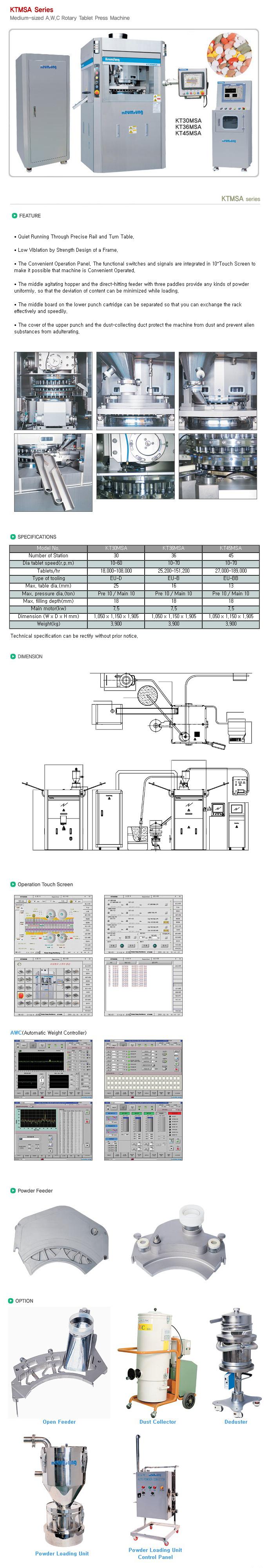 KEUM SUNG MACHINERY Medium-sized A.W.C Rotary Tablet Press Machine KTMSA Series