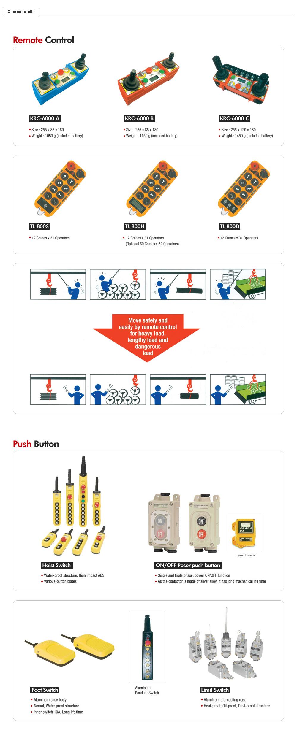 KG CRANES Remote Control & Push Button