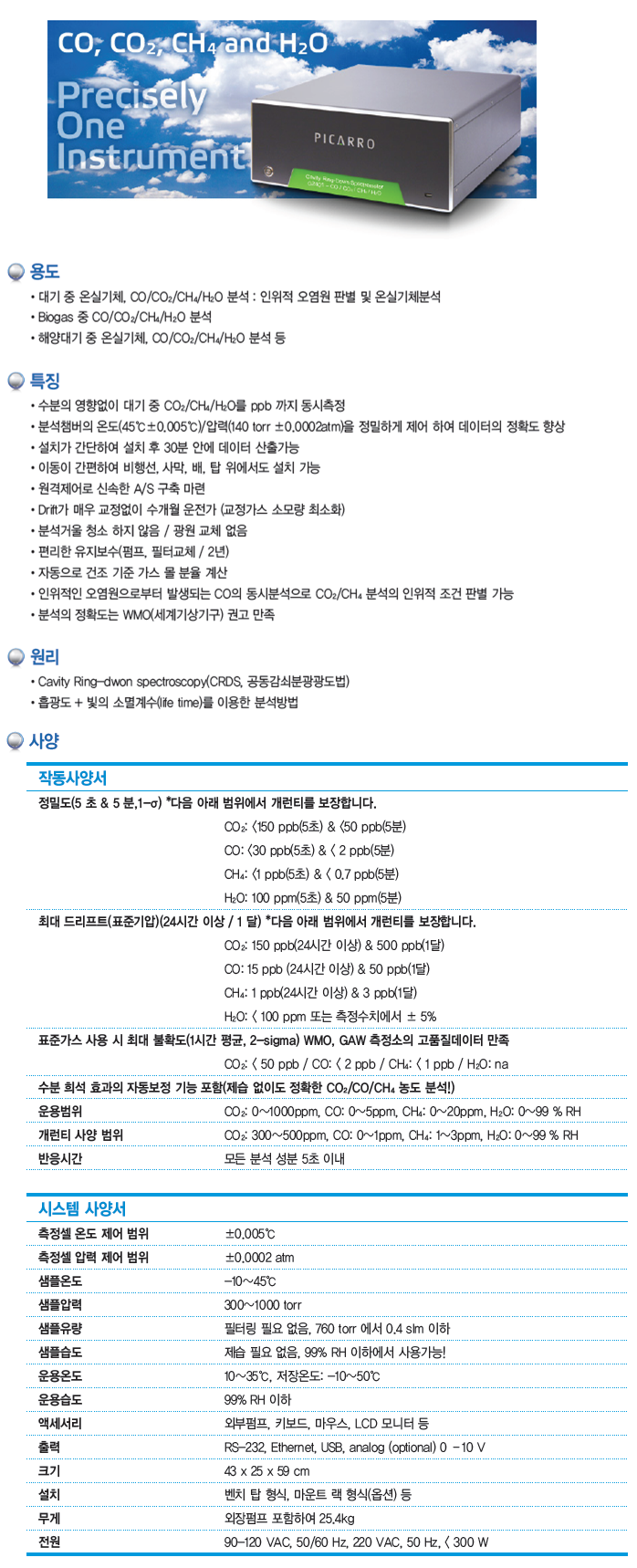 KNJ CO / CO2 / CH4 / H2O 분석기 G2401, G2301