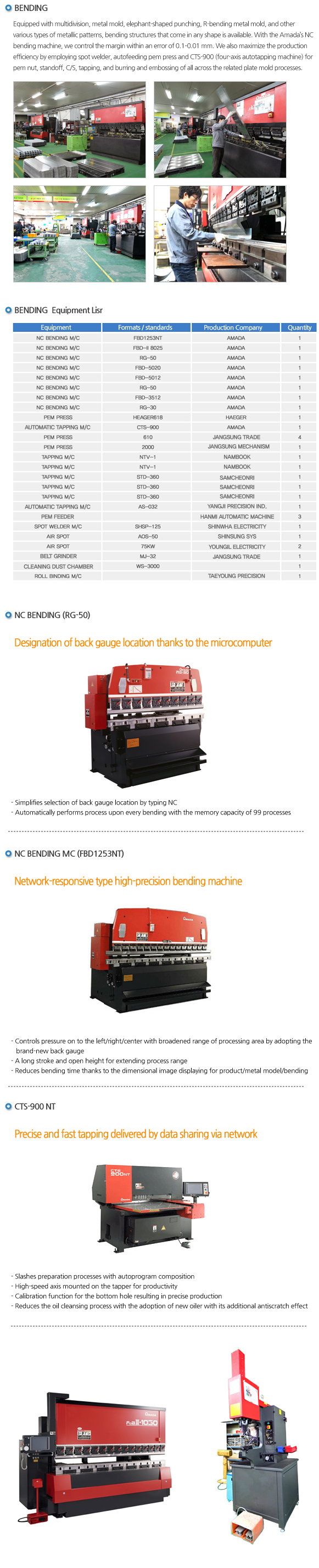 Kook-min Precision - Status of Facilities Products & Production
