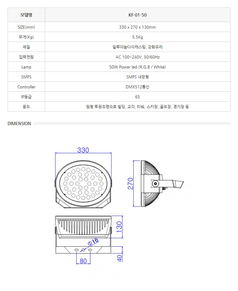 한국이미지시스템 LED투광조명 (원형) KF-01-50 1