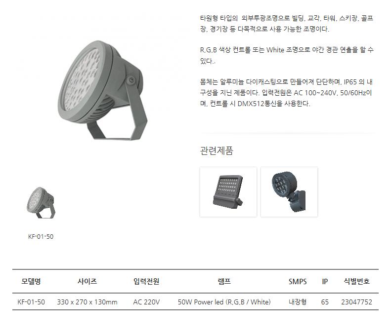 한국이미지시스템 LED투광조명 (원형) KF-01-50
