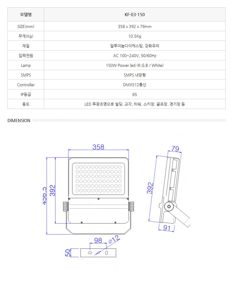 한국이미지시스템 LED투광조명 (사각형) KF-03-150 1