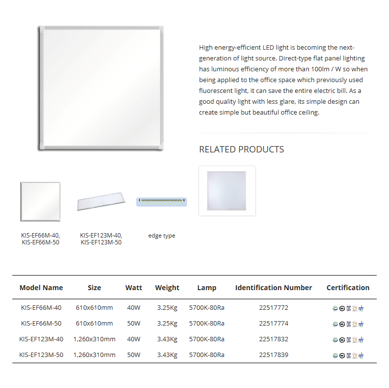 Korea Image System Flat Light (Edge Type) KIS-EFM-Series