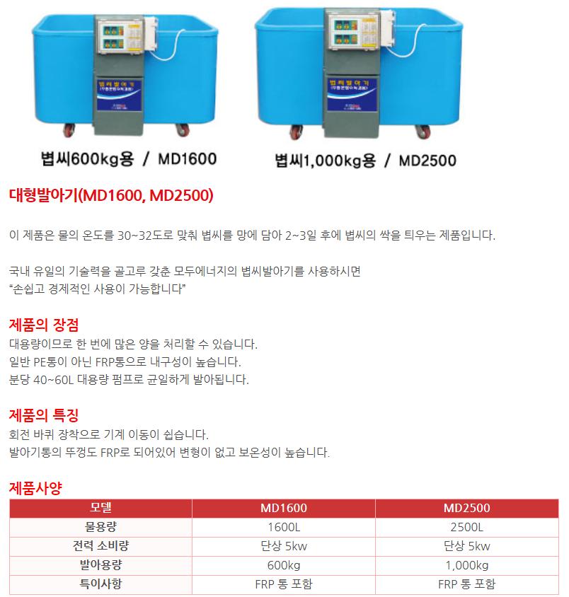 (주)광풍 대형발아기 MD1600 / MD2500 1