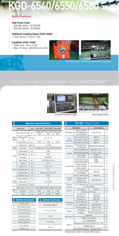 KukJae ENG CNC Gantry Type Drilling Machine KGD-6540/6550/6560