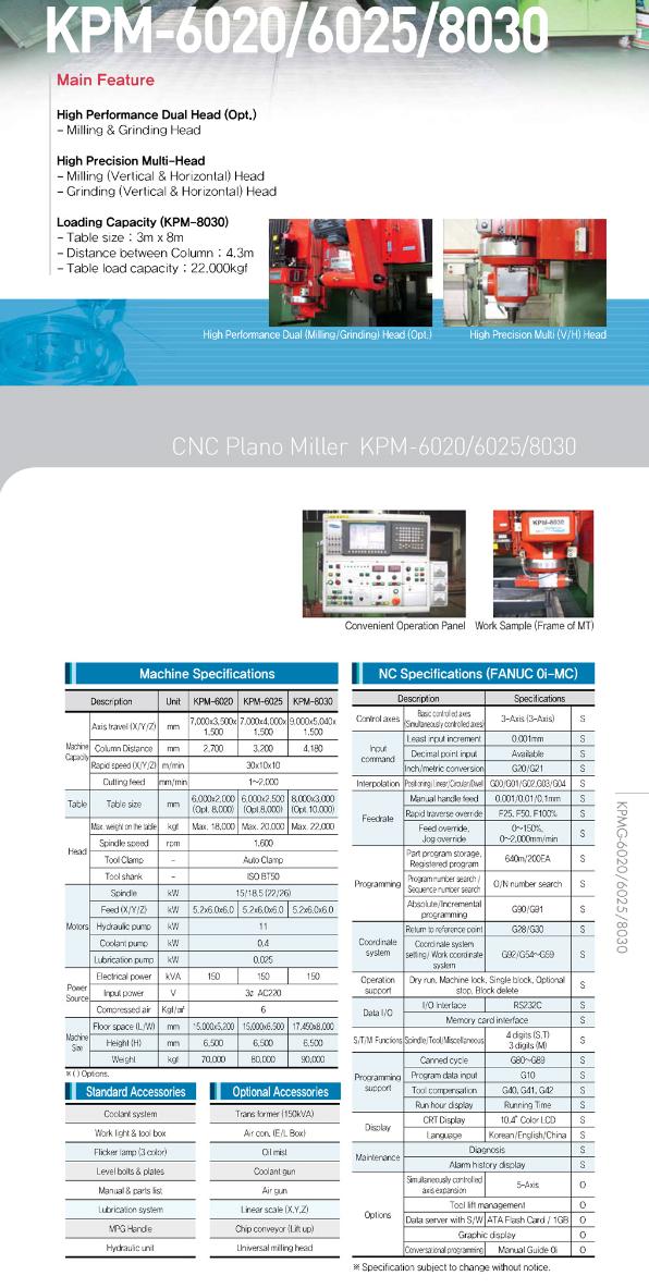 KukJae ENG CNC Plano Miller KPM-6020/6025/8030