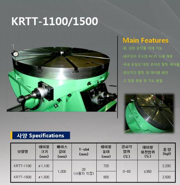 국제이엔지 Rotary Tilting Table KRTT-1100/1500