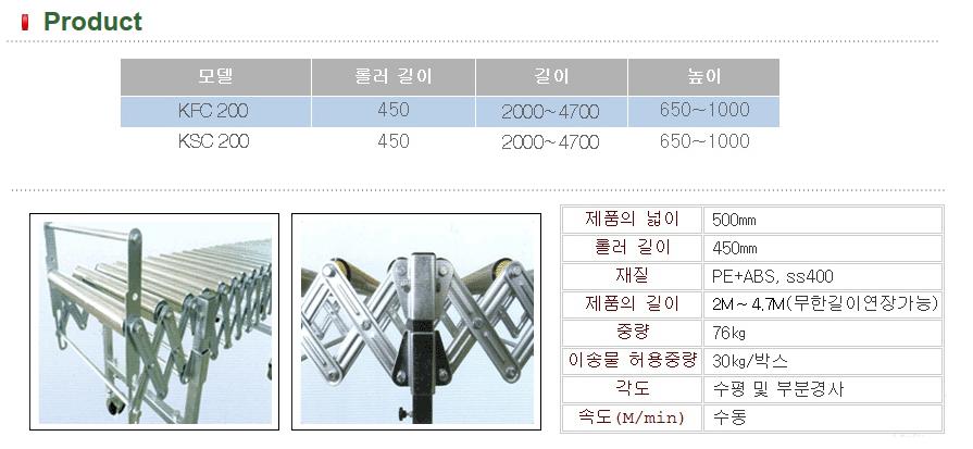 경원기계 자바라 컨베이어 KFC-200 / KSC-200