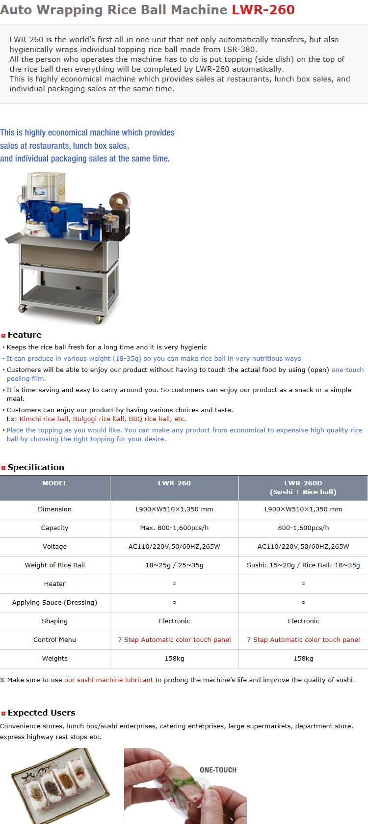 Lucky Engineering Auto Wrapping Rice Ball Machine LWR-260