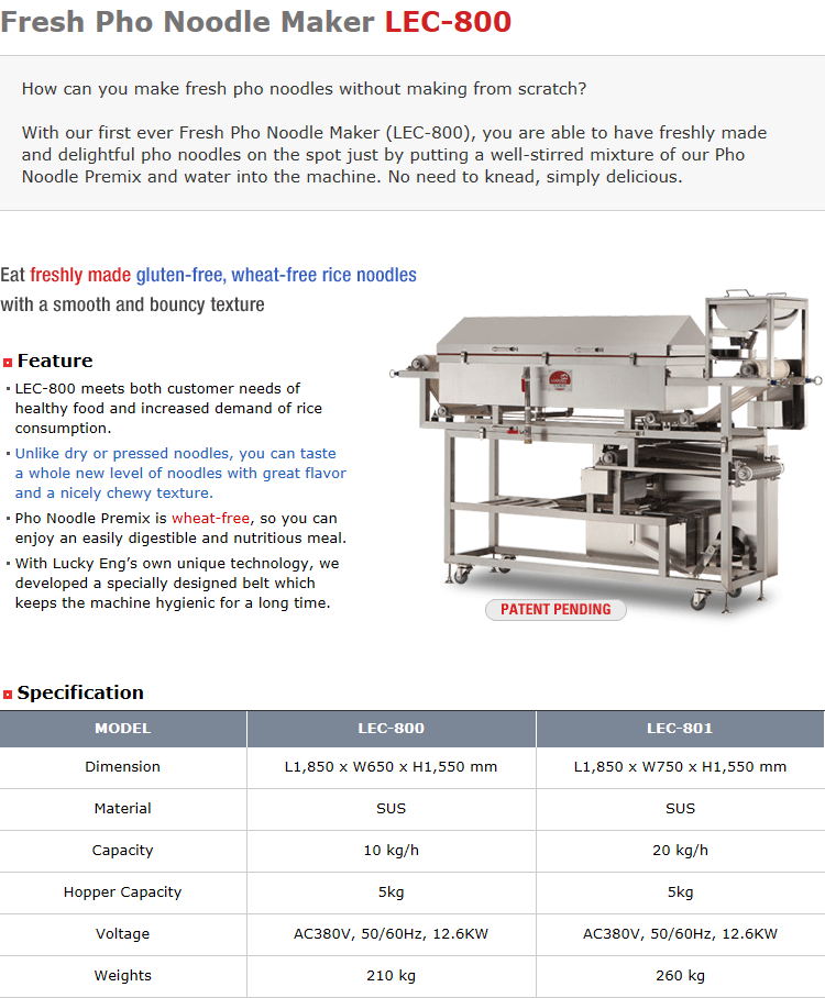 Lucky Engineering Fresh Pho Noodle Maker LEC-800