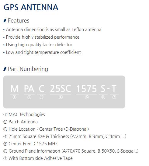 MAC technologies GPS Antenna MPAC 25SC 1575 S-T