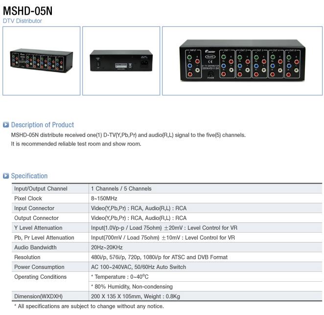 Master  MSHD-05N