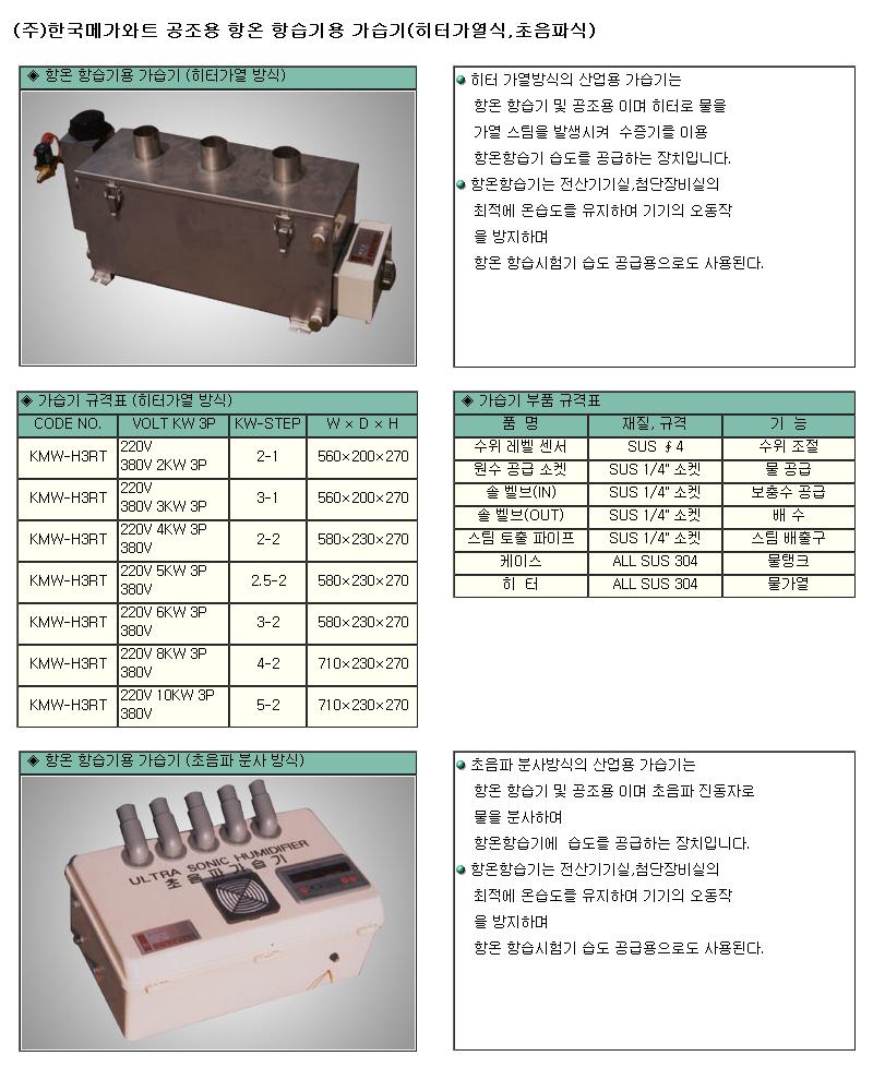 (주)한국메가와트 가습기 KMW-H3RT Series