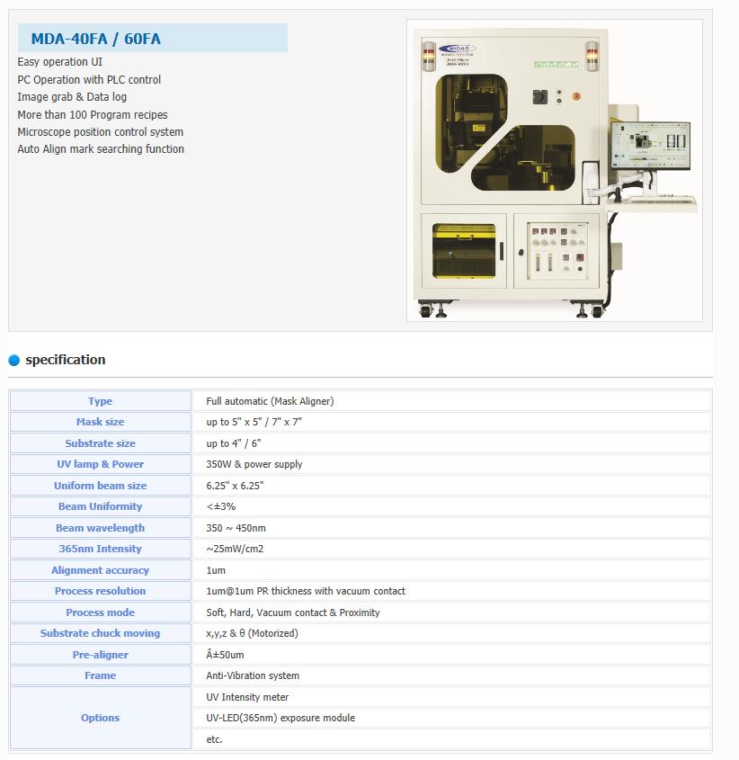 MIDAS SYSTEM  MDA-40FA/60FA
