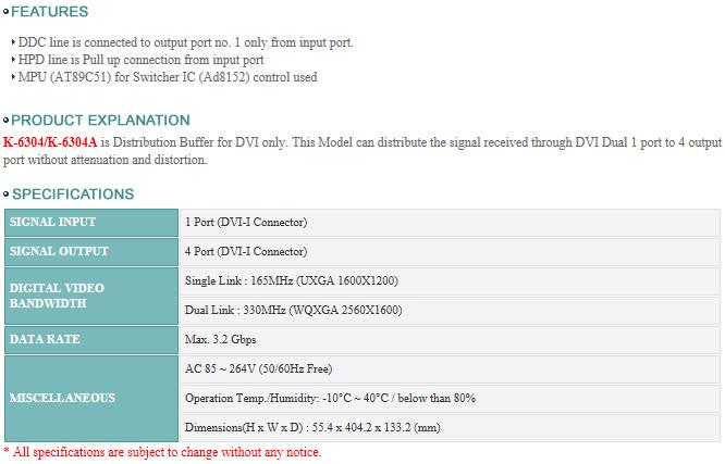 Mik 21 - Digital Video Signal Distribution Buffer - K-6304, K-6304A