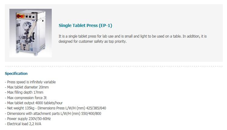Mirae ST Single Tablet Press (EP-1)