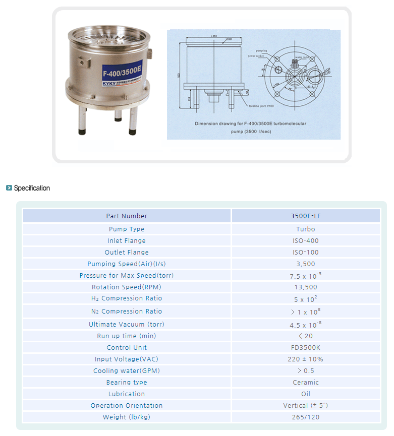 엠오텍 turbomolecular pump f-400/3500e  turbo pump