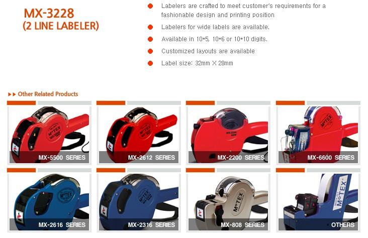 MOTEX Price Labeler (2-Line Label Guns) MX-3228 Series