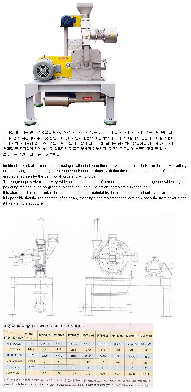 (주)명우분체시스템 Pin Mill MYPM Series 1