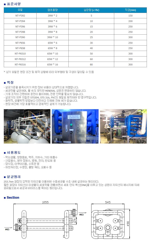 (주)네가트론 자외선 유수 살균기 NT-P Series 1