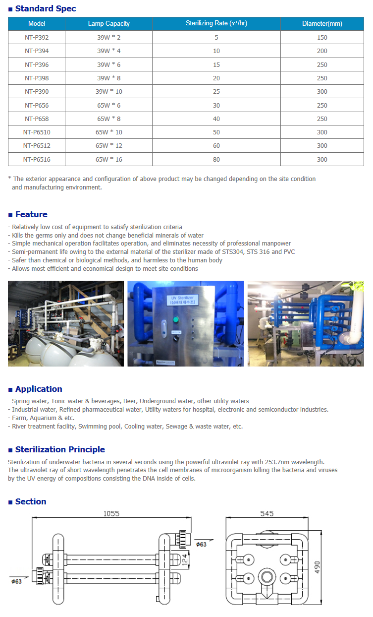 NEGATRON Ultraviolet Sterilizer NT-P Series