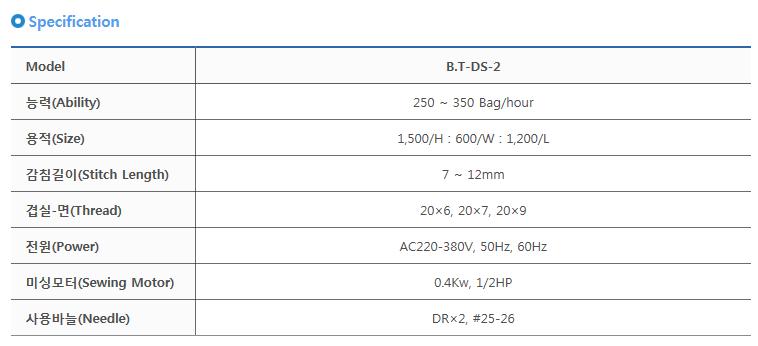 타이거자동포장기계(주) 포대포장기 B.T-DS-2