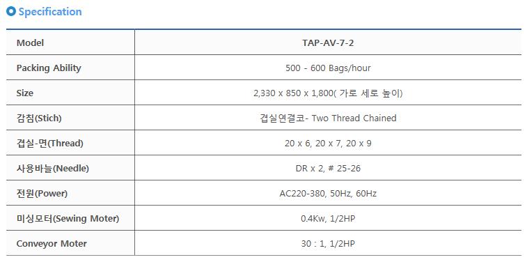타이거자동포장기계(주) 포대포장기 TAP-AV-7-2