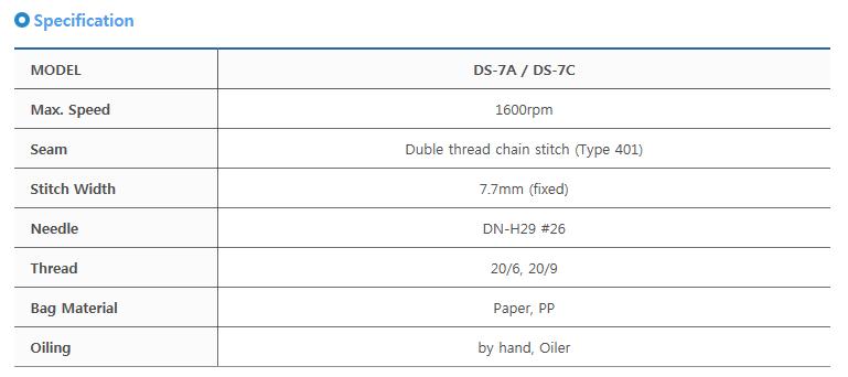 타이거자동포장기계(주) 미싱헤드 DS-7A / DS-7C