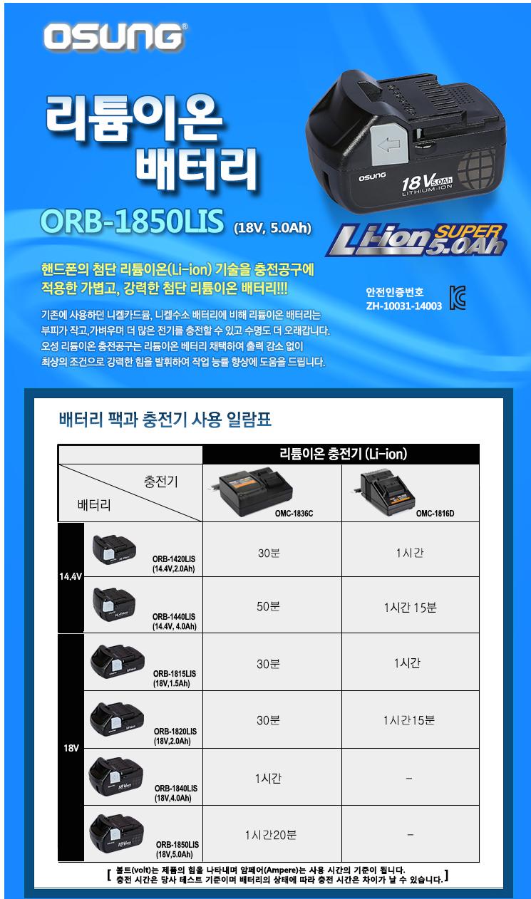 (주)오에스씨 리튬이온 배터리,18V, 5.0Ah ORB-1850LIS