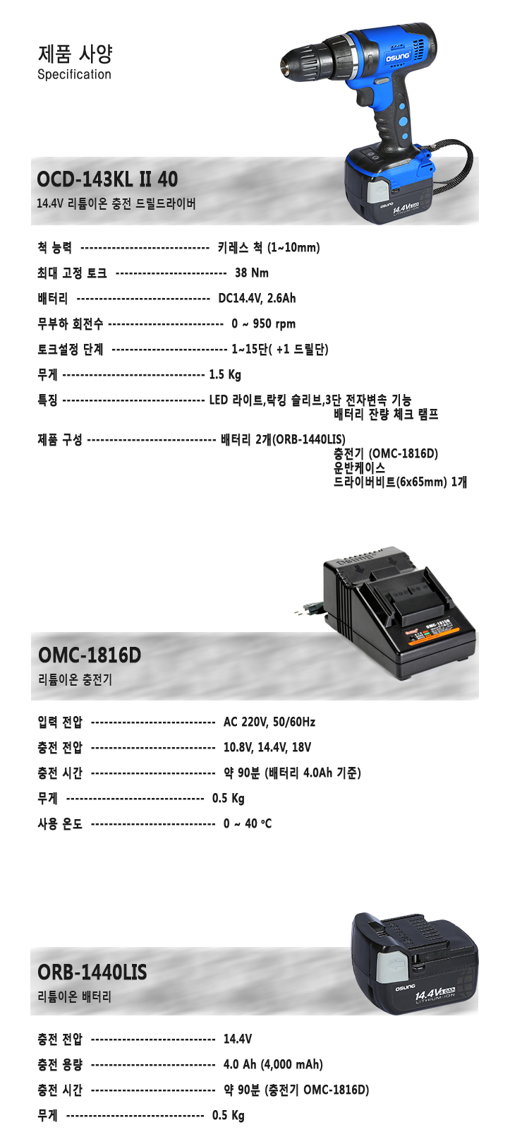 (주)오에스씨 충전 드릴드라이버, 14.4V, 4.0Ah OCD-143KL II 40 3