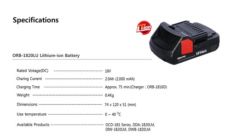 OSUNG Lithium-ion Battery,18V, 2.0Ah ORB-1820LU 1