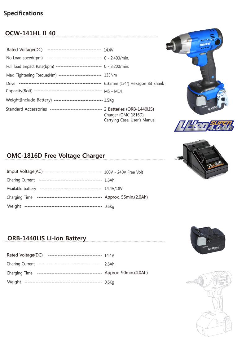 OSUNG Impact Driver,14.4V,4.0Ah OCW-141HL II 40 1