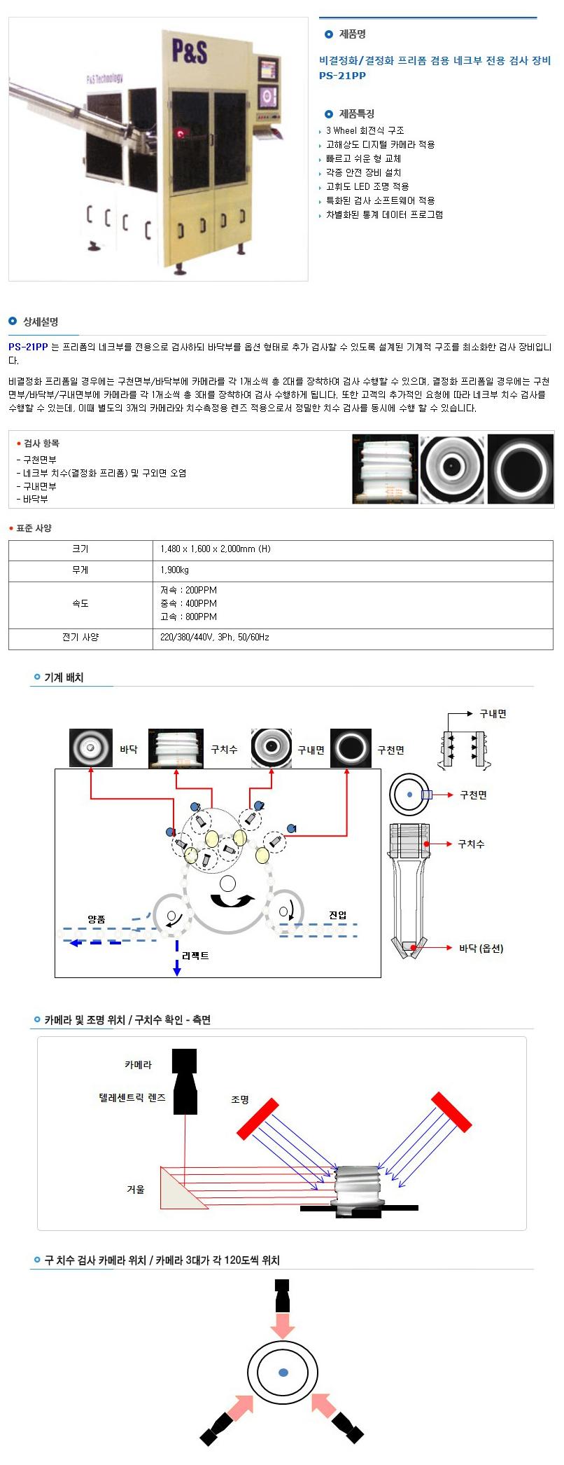 피엔에스테크놀러지(주) 비결정화/결정화 프리폼 겸용 네크부 전용 검사 장비 PS-21PP 1