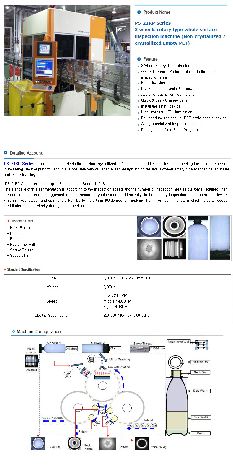 P&S TECHNOLOGY 3 wheels rotary type whole surface inspection machine PS-21RP Series