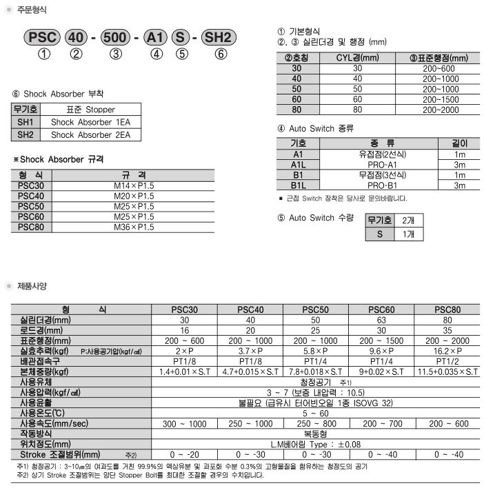 (주)프로텍 Slide Cylinder PSC Type 1